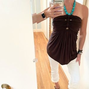Sky Strapless Top with Turquoise Beaded Neck Tie